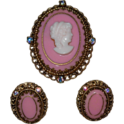 Vintage Pink Cameo Pin/ Brooch and Clip Earring Set Made in Germany