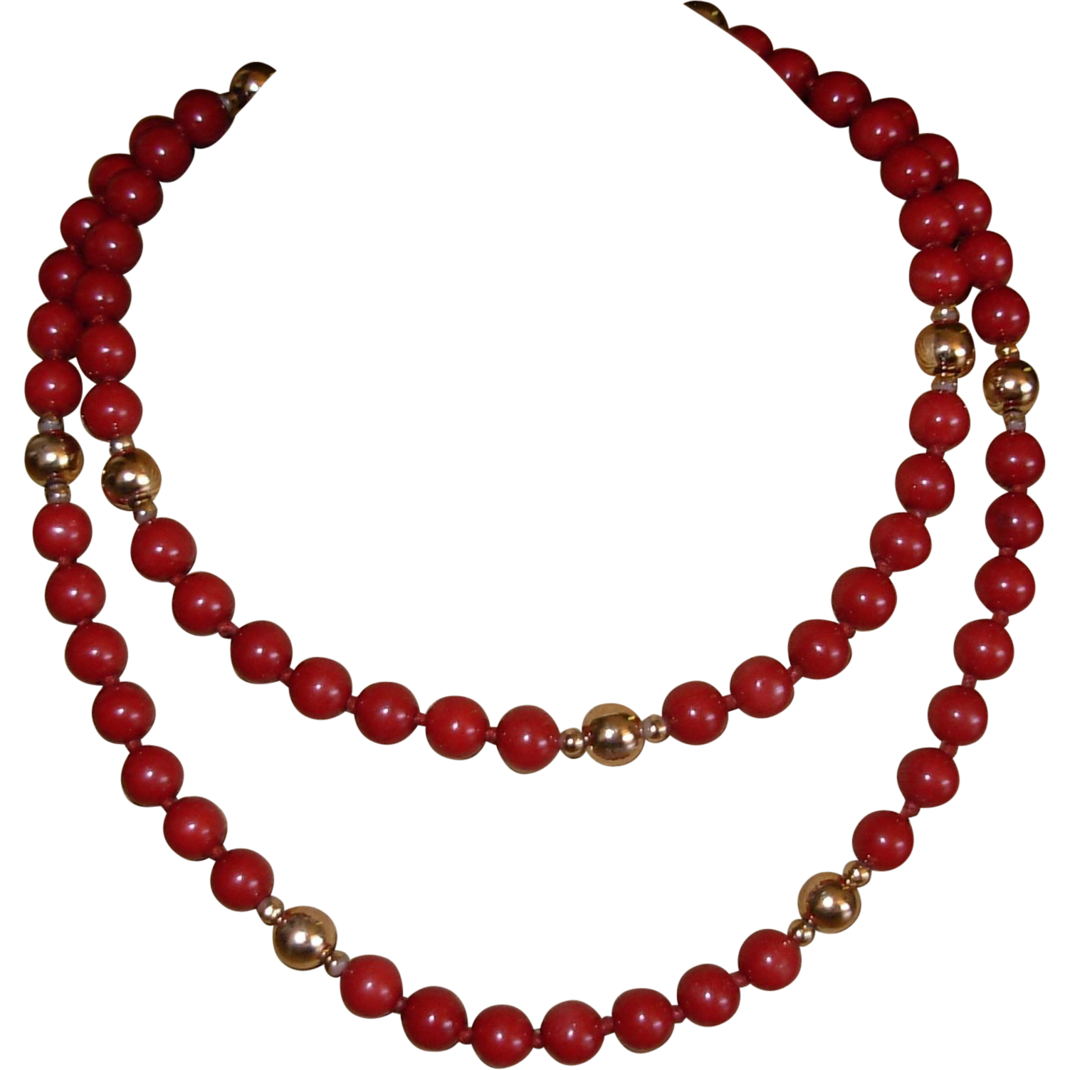 Vintage Red Jasper Beaded Necklace