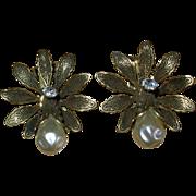 Vintage Signed Kramer Costume Clip Earrings