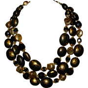Vintage Beaded Signed Deauville Triple Stand Necklace