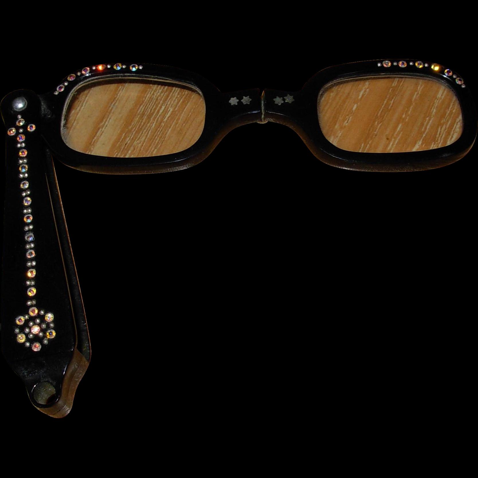 Vintage Rhinestone Foldup Opera Glasses