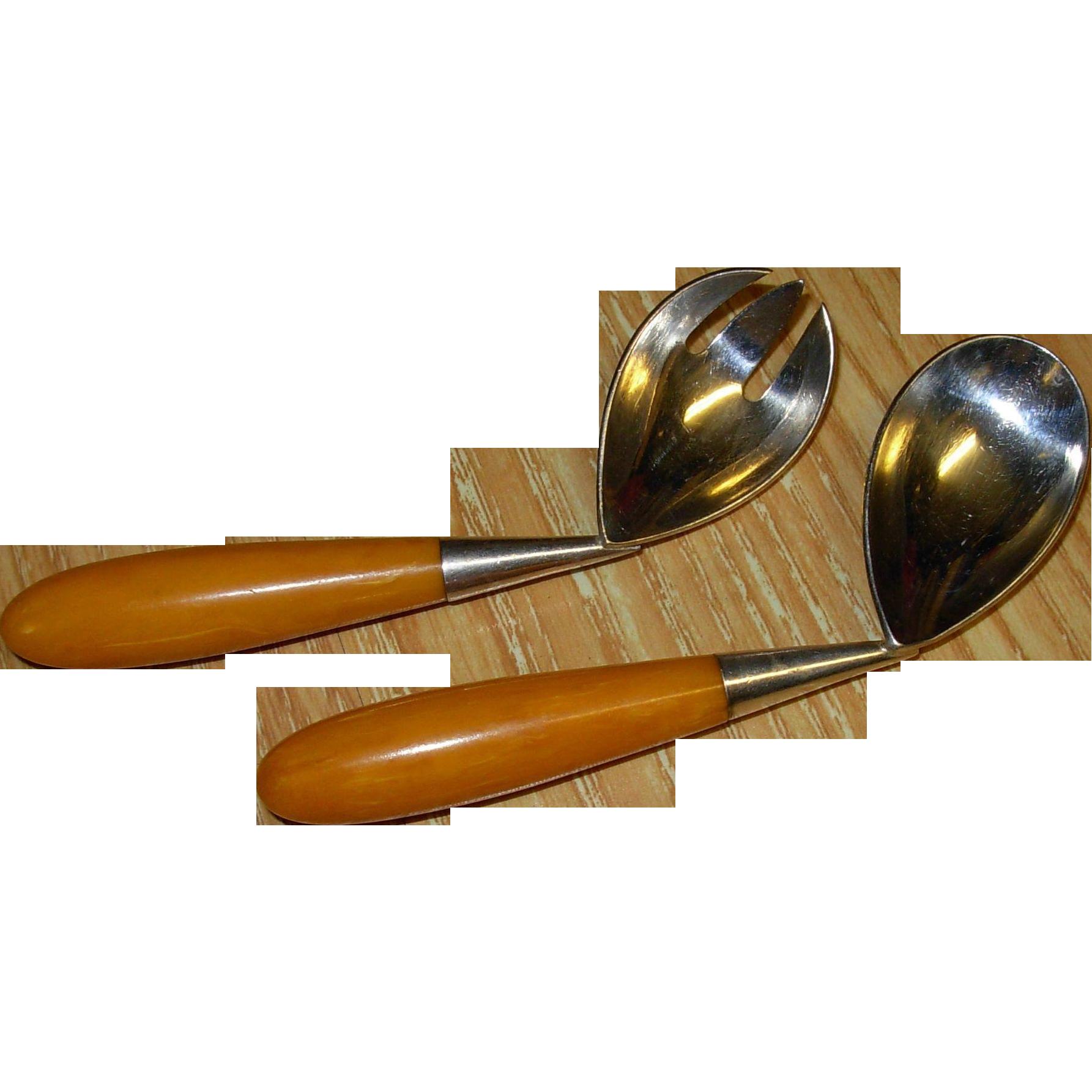 Vintage Bakelite Handle Napier Baby Spoon and Fork Set