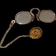 Antique Lorgnette Eyeglasses w/ Chain on Art Nouveau Pin
