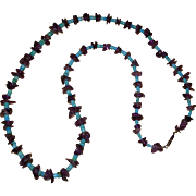 Vintage Beaded Turquoise and Amethyst Necklace