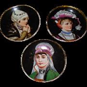 Vintage Porcelain Miniature Set of 3 Portrait Plates