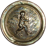 Vintage English Brass Angel Hanging Tray / Plate