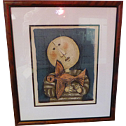 "Collectible Art Graciela Rodo Boulanger Signed Lithograph ""Bird & Child"" in Frame"