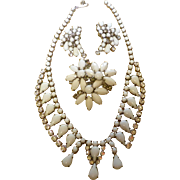 Vintage Milk Glass Rhinestone Demi Parure Necklace Pin & Earring Set Estate Jewelry