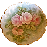 Beautiful Hand Painted Roses Floral Plate Charger Signed