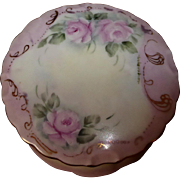 Hand painted Roses Porcelain Vanity Dresser Box