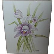 Hand Painted Porcelain Tile Floral Iris Design Signed