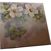 Hand Painted Porcelain Tile Floral Design Signed