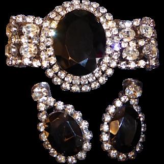 Vintage Large Rhinestone Wide Bracelet and Matching Clip Earrings Set