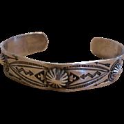 Vintage Native American Sterling Silver Cuff Bracelet