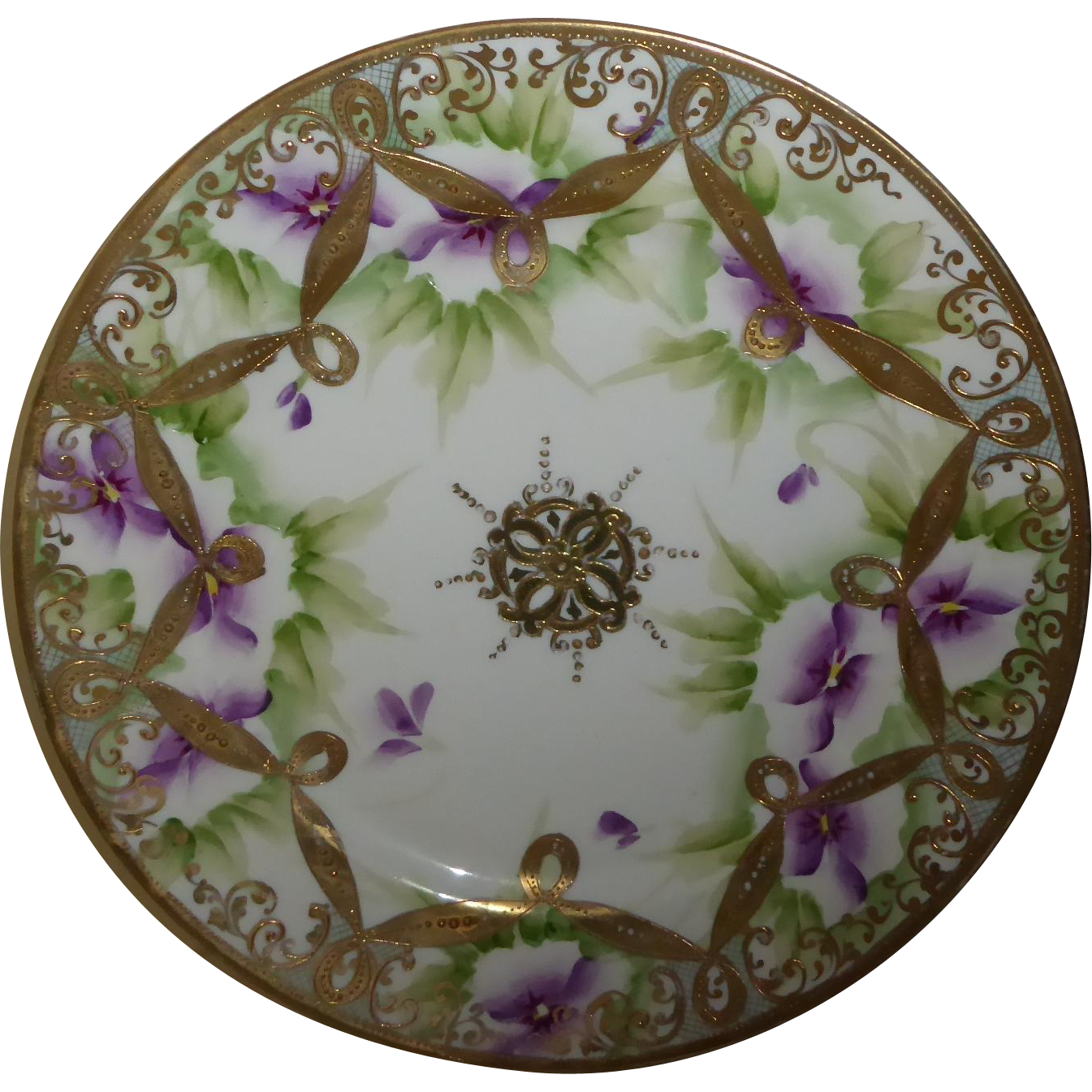 Beautiful Nippon Porcelain Hand Painted Floral Plate w/ Gold Beading