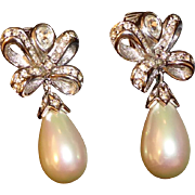 Designer Christian Dior Faux Pearl & Rhinestone Drop Earrings Signed