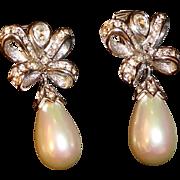 Designer Christian Dior Faux Pearl & Rhinestone Drop Earrings Signed