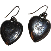 Antique Victorian Sterling Silver Puffy Heart Earrings