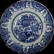 Vintage Blauw Delft Large Porcelain Charger Plate Platter Blue & White