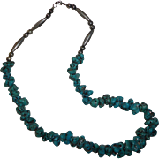 Vintage Beaded Turquoise and Sterling Silver Necklace