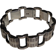 Vintage Czech Republic Sterling Silver Bracelet Art Deco Style