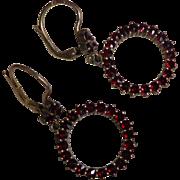 Vintage Gold Gilt Sterling Bohemian Czech Republic Garnet Pierced Earrings