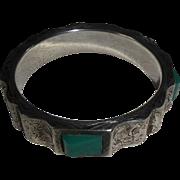 Vintage Art Deco Style Filigree Jeweled Bangle Bracelet Czech Republic