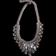 Vintage Clear Rhinestone Choker Glitzy Necklace