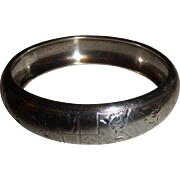 Vintage Sterling Silver Czech Republic Wide Bangle Bracelet