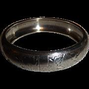 Vintage Sterling Silver Czech Republic Wide Bangle Bracelet