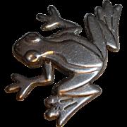 Vintage Sterling Silver Frog Pin Brooch