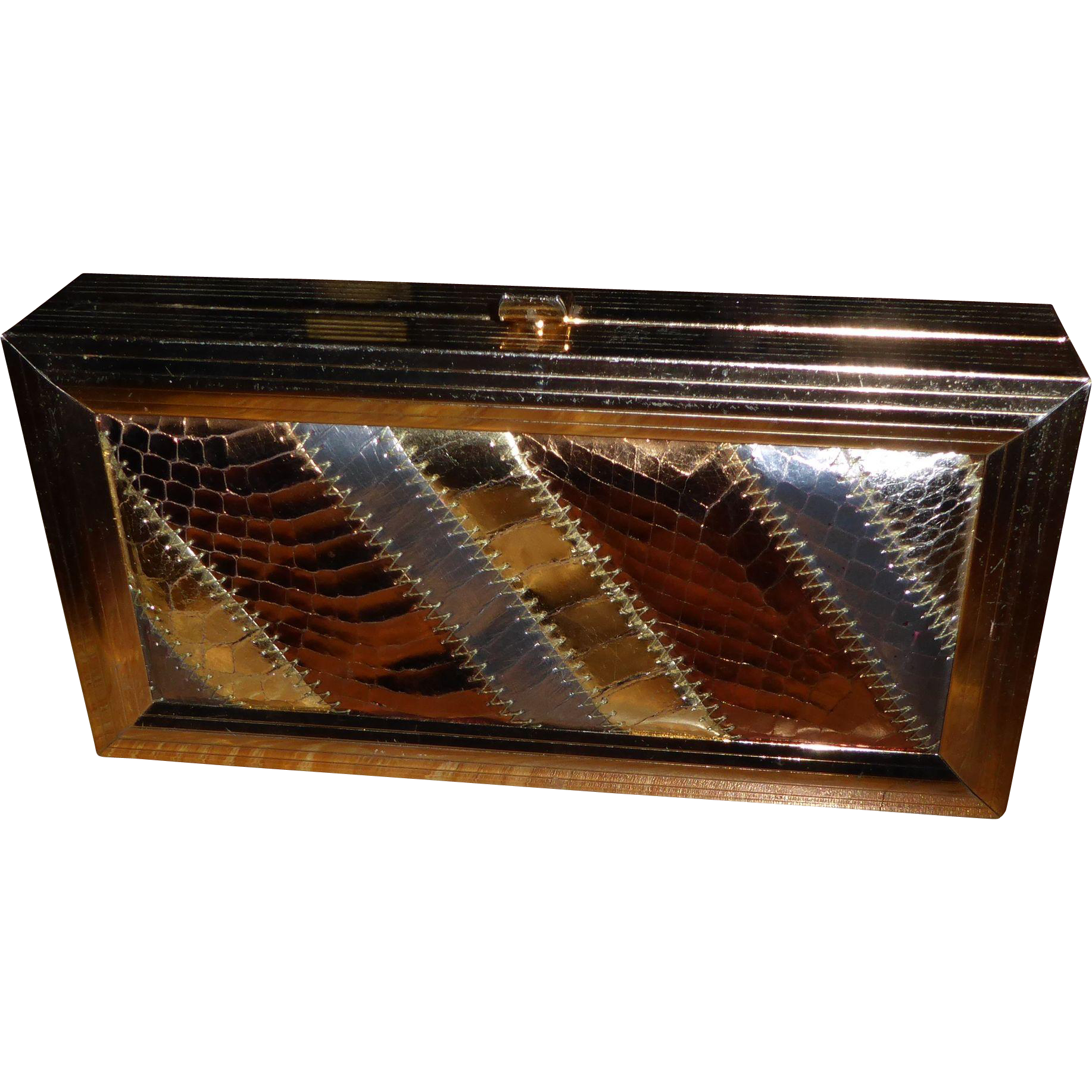 Vintage Snakeskin Metallic I Magnin Clutch Box Purse