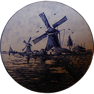 Vintage Delft Blauw Windmill Hand Painted Plate Made in Holland