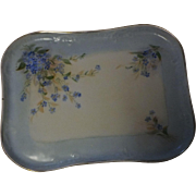 Vintage French Hand Painted Limoges Porcelain Floral Dresser Vanity Tray