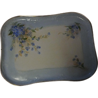 Vintage French Hand Painted Limoges Porcelain Floral Dresser Vanity Tray