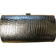 Vintage Silvertone Clutch Purse Evening Bag Rhinestone Clasp