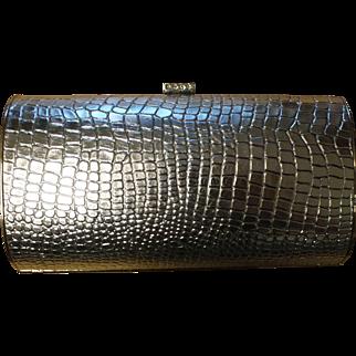 Vintage Silvertone Clutch Purse Evening Bag Rhinestone Clasp