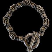 Vintage Heavy Sterling Silver Toggle Bracelet