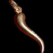 Vintage Italian Horn Good Luck Charm Pendant 14 kt Gold