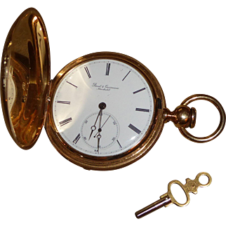"Antique 18k Gold ""Borel & Couvoisier Neuchatel"" Pocket Watch w/ Key"