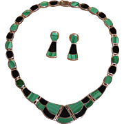 Vintage Mexican Sterling Silver Black Onyx and Malachite Necklace & Earring Set