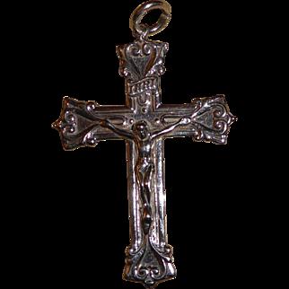 Vintage Sterling Silver Large Cross Pendant