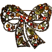 Vintage Signed Weiss Rhinestone Bow Pin Brooch