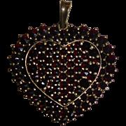 Vintage Sterling Silver Garnet Heart Pendant