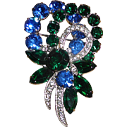 Vintage Eisenberg Ice Multicolored Rhinestone Pin Brooch Signed