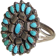 Vintage Native American Zuni Turquoise Sterling Silver Ring