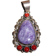 Vintage Sterling Silver Charoite Siberian and Coral Signed Pendant