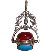 Unique Vintage Sterling Silver Multi Gemstone Pendant