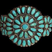 Vintage Sterling Silver Turquoise Zuni Cuff Bracelet