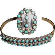 Vintage Sterling Silver and Turquoise Cuff Bracelet and Ring Set